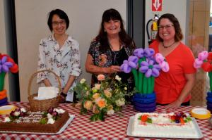 """""""maria ong, cathy coolin, and jill watson with cakes at reception"""""""